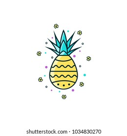 Easter egg decorated as a pineapple - flat color line icon on isolated background. Pine apple colorful linear sign, symbol, pictogram, emblem, sticker. Ananas - exotic fruit vector illustration.