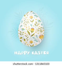 Easter egg with floral ornament and Happy Easter lettering isolated on blue background.Vector illustration