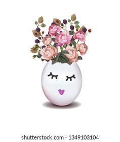 Easter egg with flowers. Easter Egg poster. Vector illustration. Broken chicken egg. Happy easter. Illustration for greeting card, ad, poster, flier, blog, article -