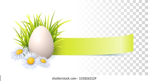 Easter Egg, Green Fresh Grass And Spring Flowers. Vector Banner On Transparent Background