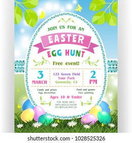Easter egg hunt announcing poster template. Text customized for invitation with date, time, location. Colorful eggs at green lawn with daisies and butterflies. Shining spring vector illustration.