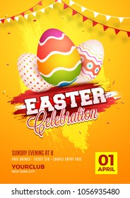Easter egg hunt flyer, poster or banner design. Easter celebration concept with painted eggs, on grungy red and yellow background.