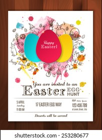 Easter egg hunt invitation. Paper eggs  with hand drawn doodle Easter symbols and watercolor splashes. Easter vector background. Egg stickers.