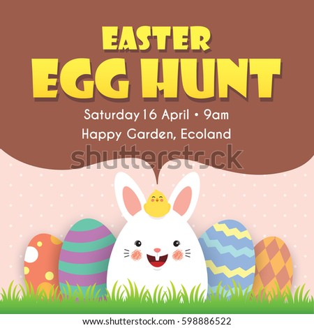 Easter Egg Hunt Invitation Template Design Stock Vector Royalty