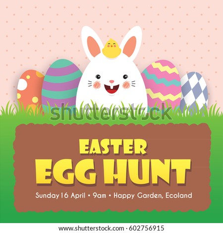 Easter egg hunt invitation template design. Cute cartoon rabbit with baby chick and colorful easter