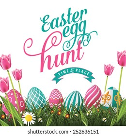 Easter egg hunt isolated with white background. EPS 10 vector royalty free stock illustration for greeting card, ad, poster, flier, blog, article