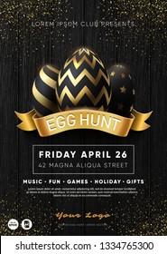 "Easter Egg Hunt Party flyer template. ""Egg Hunt"" club poster. Golden eggs composition. Eps10 vector."