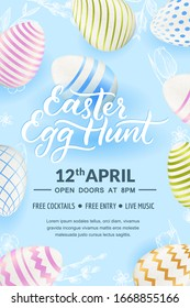 Easter Egg hunt party, hand drawn calligraphy lettering, poster, banner template. Holiday flyer layout with place for text. Vector 3d realistic illustration of Easter eggs and sketch hand drawn leaves