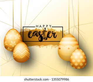 Easter egg hunt party vector poster design template. Golden 3d eggs and gold leves, on white background. Concept for banner, flyer, invitation, greeting card, holiday backgrounds.