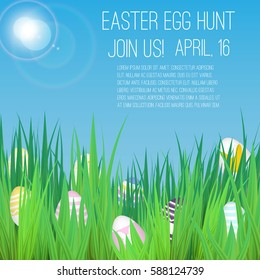 Easter Egg Hunt poster with grass and realistic eggs.