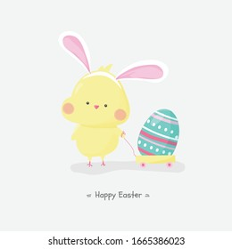 Easter egg hunt poster invitation template vector in pastel color. Cute hand drawn Chicken wearing  bunny ear drag a cart with easter egg. Happy easter holliday banner.
