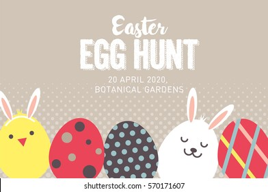 easter egg hunt poster/ invitation template vector/illustration