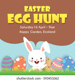 Easter egg hunt poster, invitation, leaflet template design. Easter eggs on the meadow with cartoon bunny and blue sky as background.