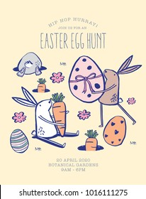 Easter egg hunt poster. template vector/illustration.