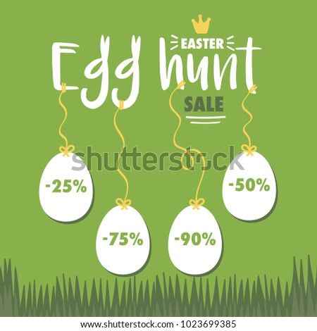 Easter Egg Hunt Sale Vector Illustration Stock Vector Royalty Free