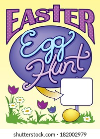 Easter Egg Hunt Sign Page Vector Layout