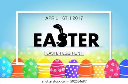 Easter egg hunt vector illustration. Colorful holiday banner design with eggs.