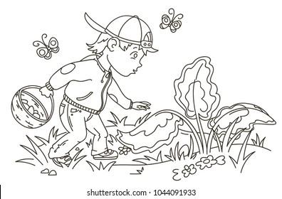 Easter Egg Hunter Boy Looking for Eggs, Outline Vector Illustration