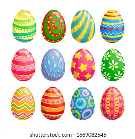 Easter egg isolated icons of religion holiday and egghunting vector design. Spring season painted eggs, decorated with colorful pattern of flower, stars and hearts, ornaments of stripes and dots