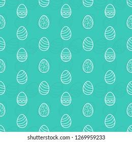 easter egg outline seamless pattern vector