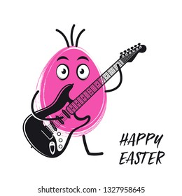 Easter egg playing electric guitar funny vector illustration