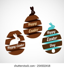 Easter egg ribbons set with rabbit silhouettes, isolated vector illustration on a white background.