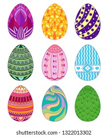 Easter egg set with abstract geometric patterns. Vector