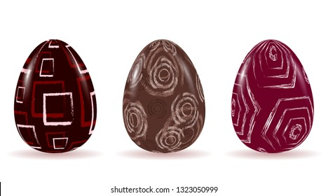 Easter egg set with abstract geometric patterns. Circle, square, hexagon. Vector