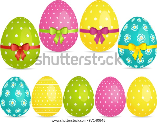 Easter egg set in bright colors with and with ribbons
