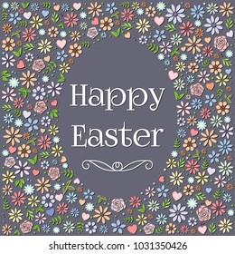 Easter egg shape colorful flower design