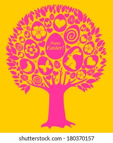 Easter egg tree. Greeting card. Celebration background with eggs, flowers, heart and place for your text. Vector Illustration