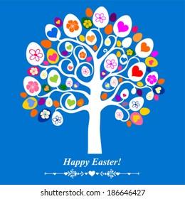 Easter egg tree. Vintage card. Vector Illustration