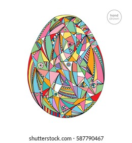 Easter egg vector illustration. Hand drawn abstract holidays design in modern style.