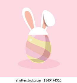 Easter Egg with White bunny ear band icon