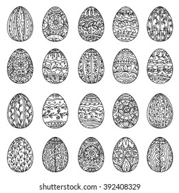 Easter eggs  in adult coloring book style. Black and white. Vector illustration. The best for your design, textiles, posters, coloring pages