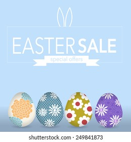 The Easter eggs banner for Easter sales with special offers ribbon