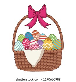 Easter eggs with basket