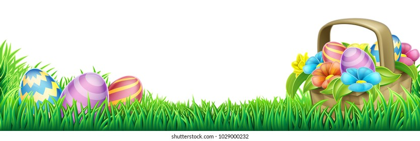 An Easter eggs basket design element background footer