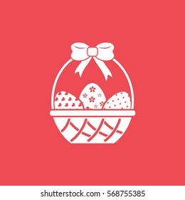 Easter Eggs In Basket Flat Icon On Red Background