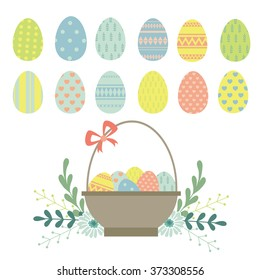 Easter. Easter Eggs, Easter basket. Vector set
