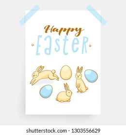 Easter eggs with bunnies, festive vector realistic design