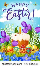 Easter eggs, cake and spring flowers vector greeting card of christian religion holiday celebration. Traditional sweet bread, painted eggs and candle, crocuses, tulips and lilies with butterflies