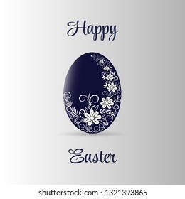 easter eggs card with hand drawn white flower pattern in vector
