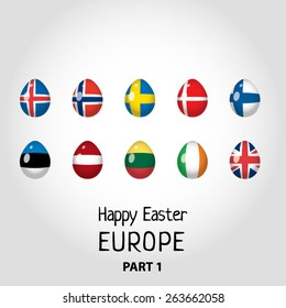 Easter eggs colored as flags of European countries - part 1