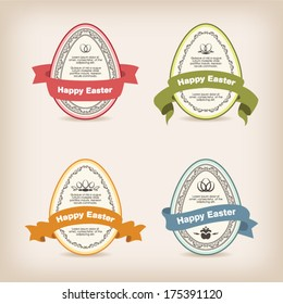 Easter eggs with colorful ribbon and decorative borders