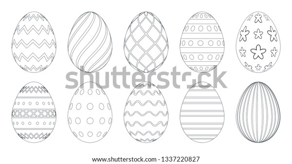 Easter Eggs Coloring Book Set Black Stock Vector (Royalty Free) 1337220827