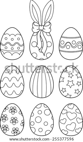 Easter Eggs Coloring Page Stock Vector Royalty Free 255377596