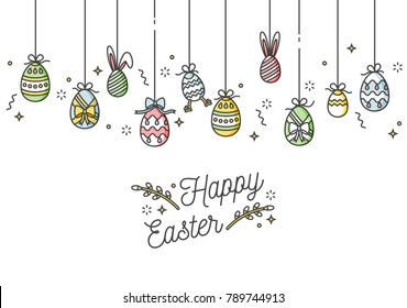 Easter eggs composition. Colorful linear icons on white background. Hanging Easter ornamental eggs. Happy Easter greeting card