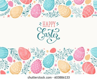 Easter eggs composition hand drawn black on white background. Decorative horizontal stripe from eggs with  doodle leaves.