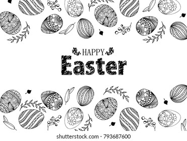 Easter eggs composition hand drawn black on white background. Decorative  background from Easter eggs with leaves. Happy Easter doodle eggs with space for text.